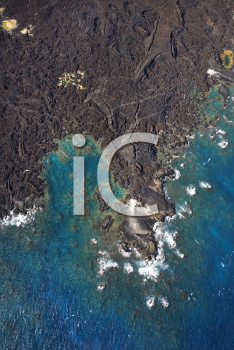Royalty Free Photo of an Aerial of Maui, Hawaii Coastline With Lava Rocks