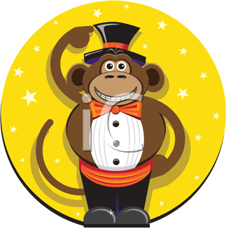 Royalty Free Clipart Image of a Monkey Wearing a Top Hat