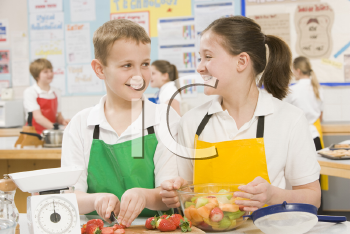 Royalty Free Photo of Students in a Cooking Class