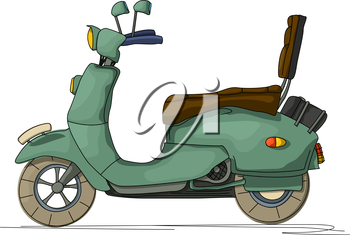 Cartoon style drawing of a retro scooter, isolated object on white background