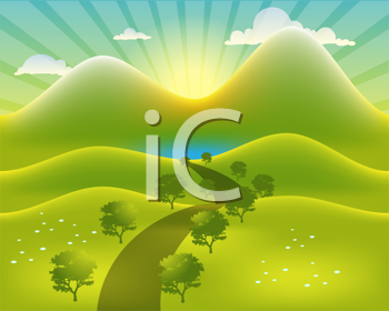 Royalty Free Clipart Image of a Landscape Design