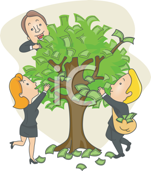 Royalty Free Clipart Image of People at a Money Tree