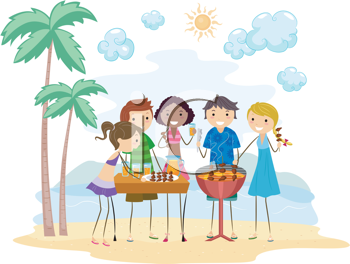 Royalty Free Clipart Image of a Barbecue Party