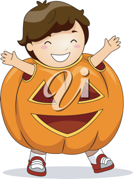 Illustration of a Boy Dressed in a Pumpkin Costume