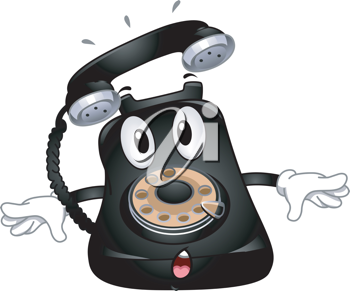 Mascot Illustration Featuring a Ringing Telephone