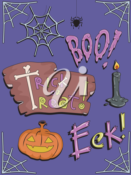 Illustration Featuring Famous Halloween Icons and Expressions