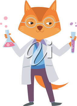 Illustration of a Cute Fox Holding Laboratory Tools Filled with Chemicals