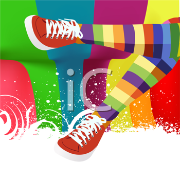 Royalty Free Clipart Image of a Striped Socks and Red Sneakers on a Colourful Background