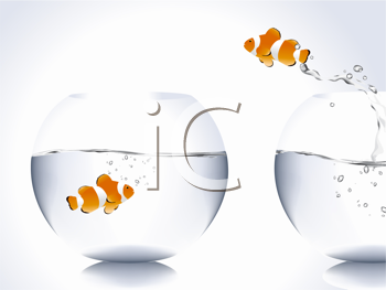 Royalty Free Clipart Image of a Fish Jumping From One Bowl to Another
