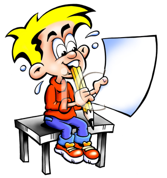 Royalty Free Clipart Image of a Boy Sitting on a Table