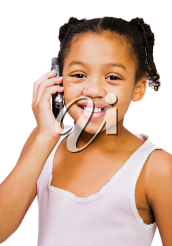 Girl holding a mobile phone isolated over white