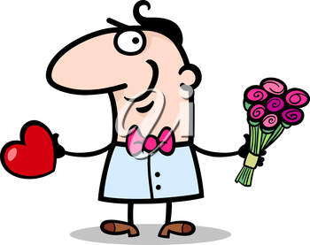 Cartoon St Valentines Illustration of Happy Funny Man in Love with Valentine Card and Bunch of Flowers