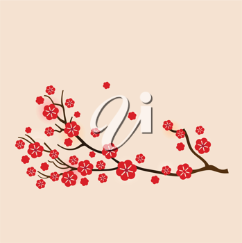 Royalty Free Clipart Image of Blossoms on a Branch