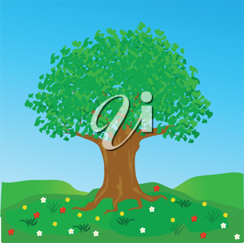 Royalty Free Clipart Image of a Tree in a Glade