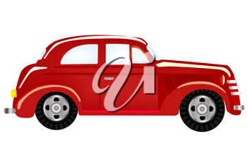 Royalty Free Clipart Image of a Red Antique Car