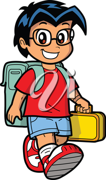 Royalty Free Clipart Image of a Young Boy Going to School