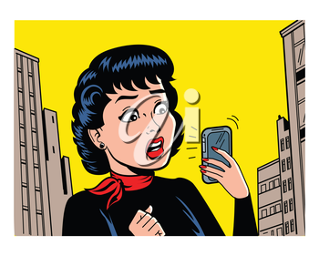 Royalty Free Clipart Image of a Retro Cartoon Woman With a Cellphone