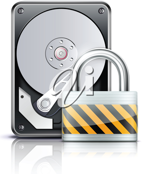 Royalty Free Clipart Image of a Hard Drive and Padlock