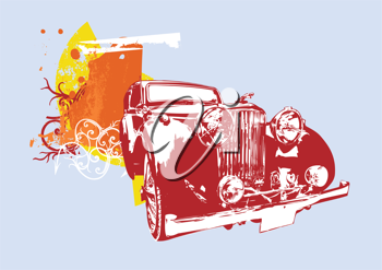 Royalty Free Clipart Image of a Vintage Car