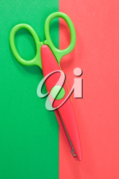 Royalty Free Photo of Scissors on Paper