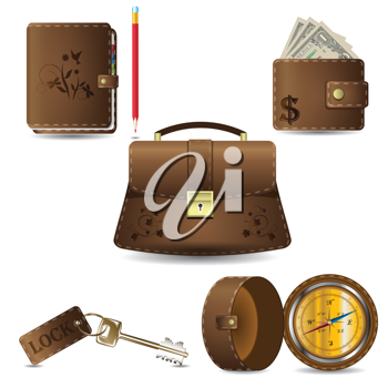 Royalty Free Clipart Image of Leather Icons