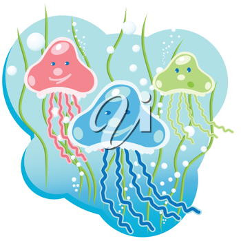 Royalty Free Clipart Image of Jellyfish