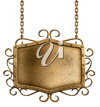 bronze metal signboard hanging on chains isolated