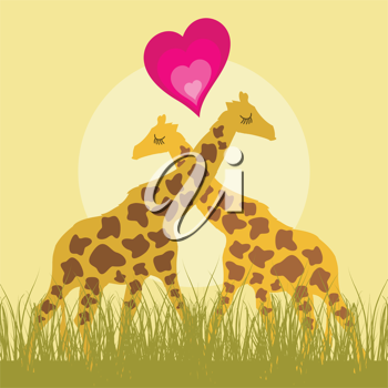 Royalty Free Clipart Image of Two Giraffes in Love