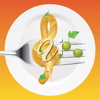 Royalty Free Clipart Image of Spaghetti in the Shape of a Treble Clef