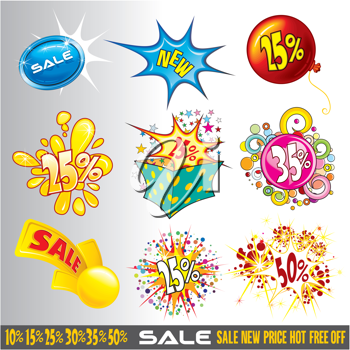 Set of sale, promotional and discount Signs