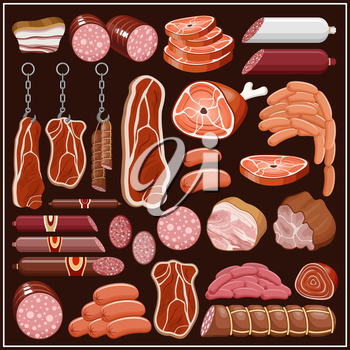 Set of meat products. vector