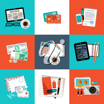 Flat vector set of office things, equipment, objects.  Vector illustration