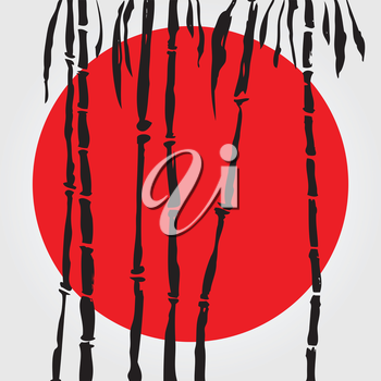 Bamboo in Chinese style. Vector hand drawn illustration.