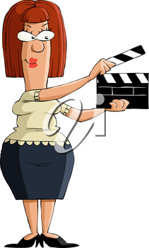 Royalty Free Clipart Image of a Clapboard Person