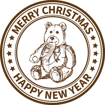 Christmas and New Year stamp with the toy bear