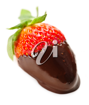 Strawberry dipped in delicious chocolate isolated on white