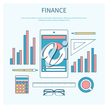 Concept of corporate finance, business management, financial planning with calculator, smartphone, financial documents. Modern design flat icon collection concept in stylish colors of business workflo