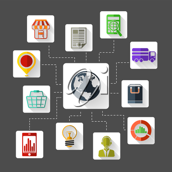Set of 12 square flat design icons for marketing planning , analysis, e commerce, delivery, online shopping and customer support on grey background