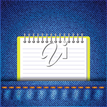 colorful illustration with notebook on a jeans background for your design