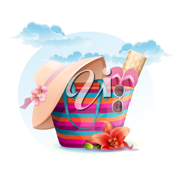 Royalty Free Clipart Image of a Beach Bag and Accessories