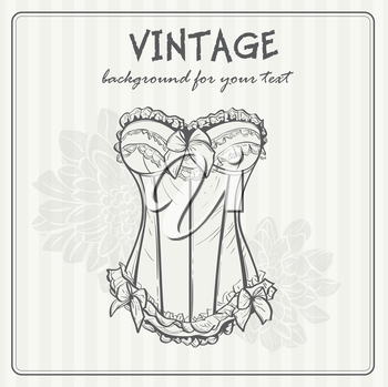 Royalty Free Clipart Image of a Vintage Background With a Corset