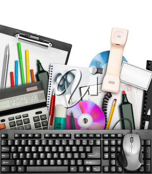 Set of office stationery with keyboard and mouse on top. Isolated on white