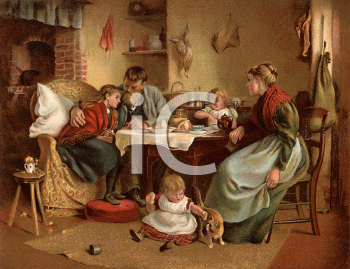 Royalty Free Victorian Illustration of a Family Sitting at a Kitchen Table