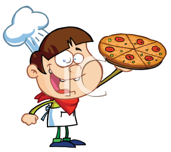 Royalty Free Clipart Image of a Boy With a Pizza