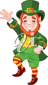 Full length drawing of a leprechaun dancing a jig