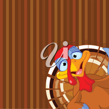 Illustration of cute turkey on striped background