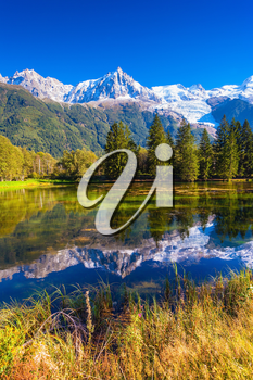 Early autumn in Chamonix, Haute-Savoie. France.  The lake reflected the snow-capped Alps and evergreen spruce