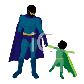 Royalty Free Clipart Image of a Superhero Father and Child