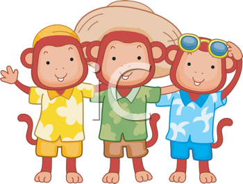 Royalty Free Clipart Image of Three Monkeys