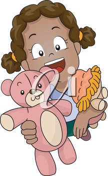 Illustration of a Little Girl Carrying Toys Inviting People to Play with Her
